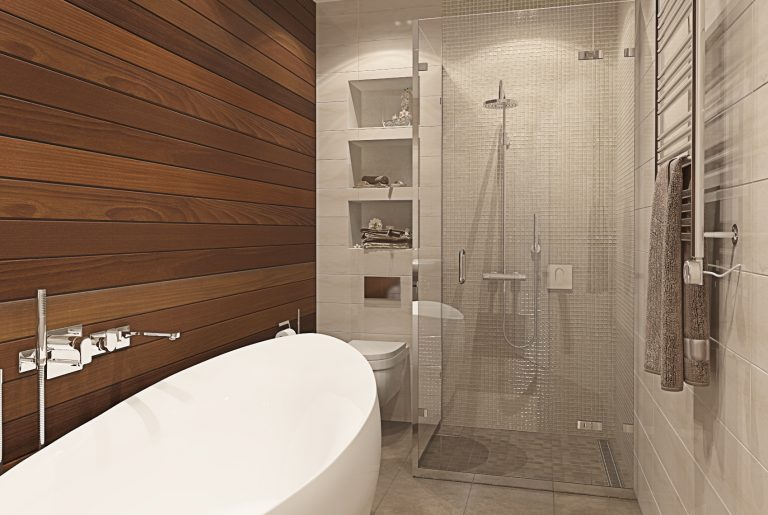 Ванная со стеной из тика Bathroom View_02