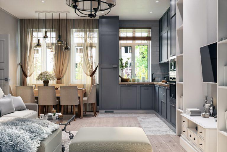 Кухня гостиная Living room 1 в неоклассическом стиле