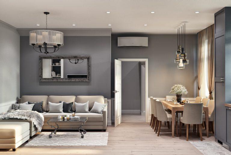 Кухня гостиная Living room 2 в неоклассическом стиле