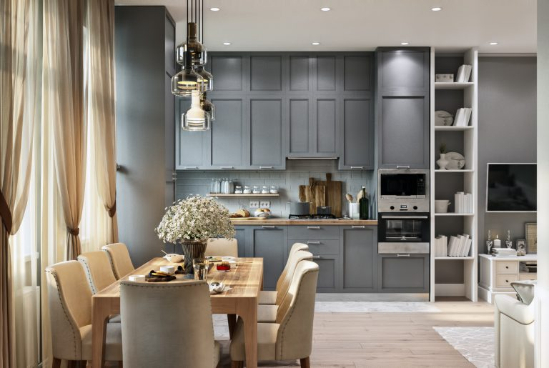 Кухня гостиная Living room 3 в неоклассическом стиле