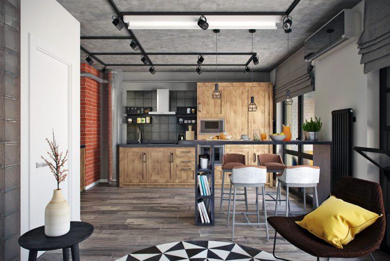 Студия кухня в стиле лофт Loft Kitchen View14