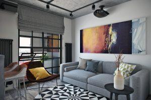 Студия гостиная в стиле лофт Loft View17