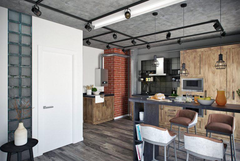 Студия кухня в стиле лофт Loft Kitchen View16