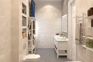 Ванная с мозаикой вид 1 bathroom