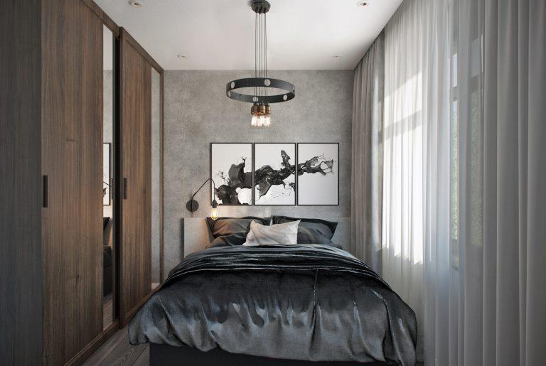 Гостевая спальня в современном стиле с элементами лофт на первом этаже