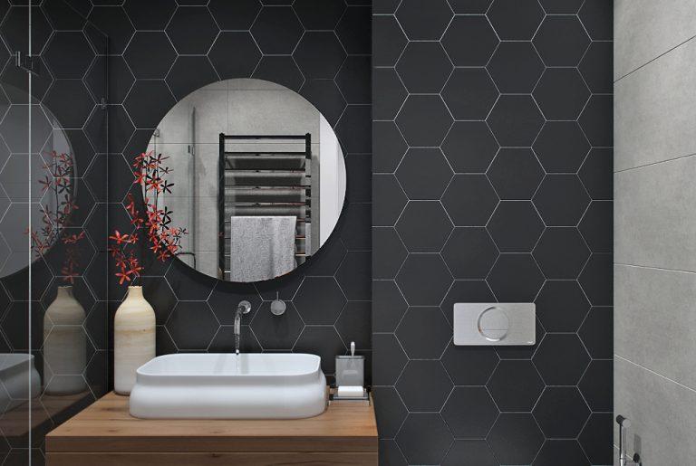 Гостевой санузел в современном стиле с контрастными стенами