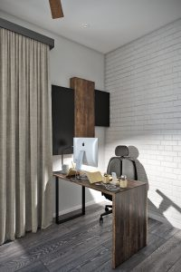 Рабочее место в кабинете на втором этаже загородного дома