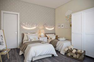 Две кроватки для маленьких принцесс в детской на втором этаже
