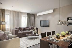 Мягкая зона с проектором в гостиной