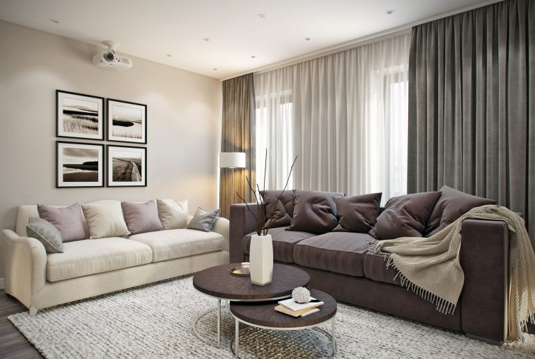 Зона отдыха с двумя диванами в современной гостиной