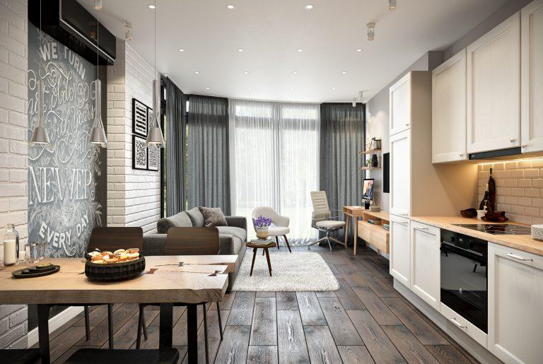 Студия (кухня, гостиная) Livingroom (7) в стиле эклектика