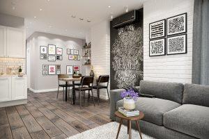 Гостиная в стиле эклектика Livingroom (8) грифельная доска