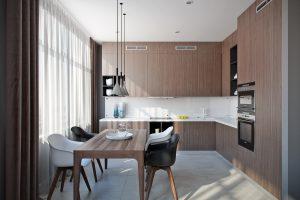 Кухня в современном стиле Kitchen View04 обеденная зона