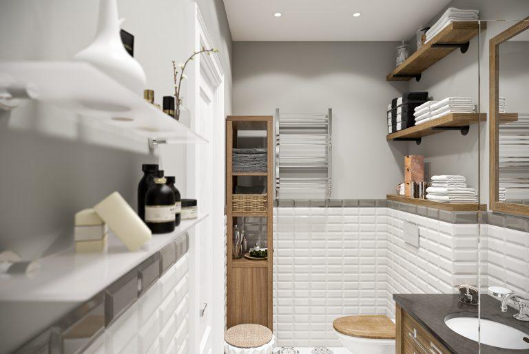 Санузел светлый белый bathroom (7) плитка кабанчик
