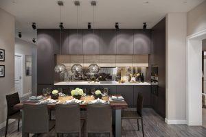 Кухня с большим обеденным столом для всей семьи