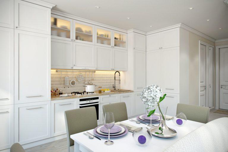 Кухня белая в стиле эклектика вид 12