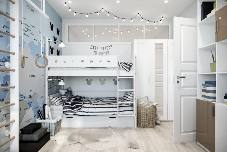 Детская комната с картой на стене