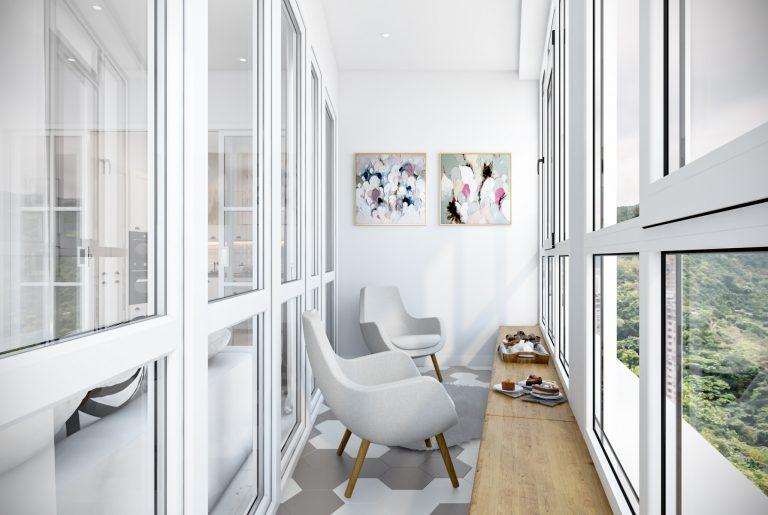 Балкон с местом для легких перекусов