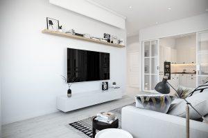 зона просмотра ТВ в светлой скандинавской гостиной