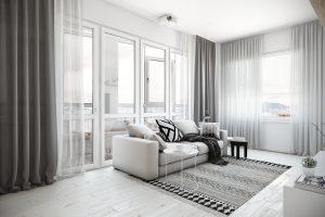 Просторная гостиная с проектором в скандинавском стиле
