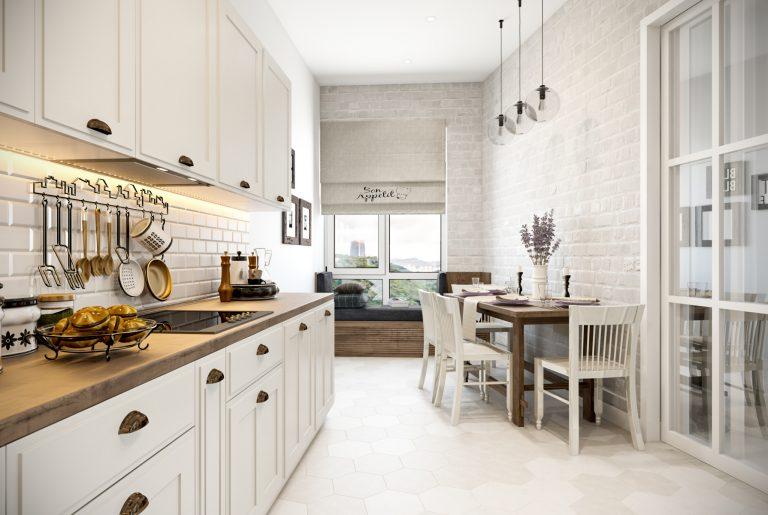 Светлая кухня неправильной формы в скандинавском стиле