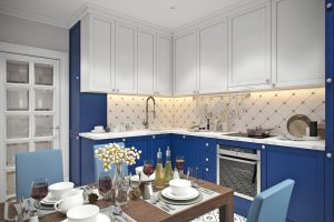 Кухня (4) ар-деко синяя белая
