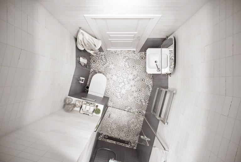 Душевая с контрастными стенами и плиткой с рисунками на полу