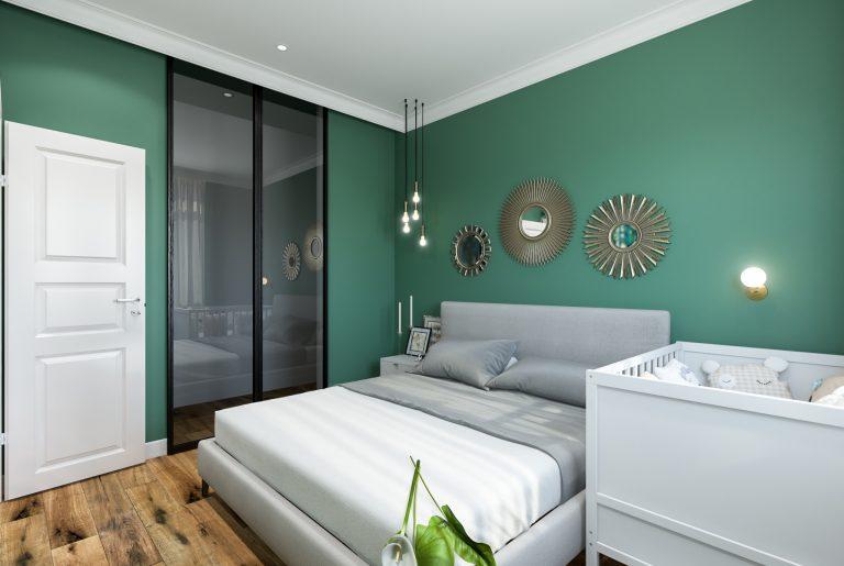 Спальня и зеркала в виде солнца (3) эклектика