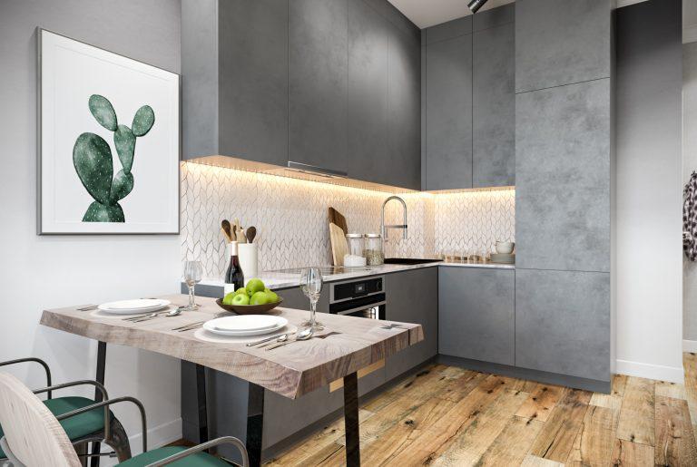 Студия (10) кухня с фасадом под бетон