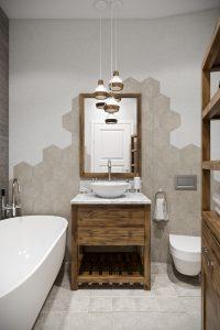 Скандинавская ванная с мебелью из массива