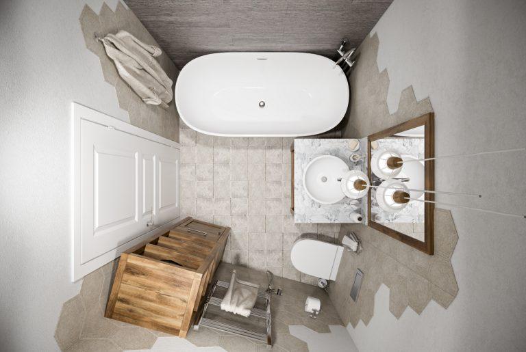Небольшая ванная в скандинавском стиле