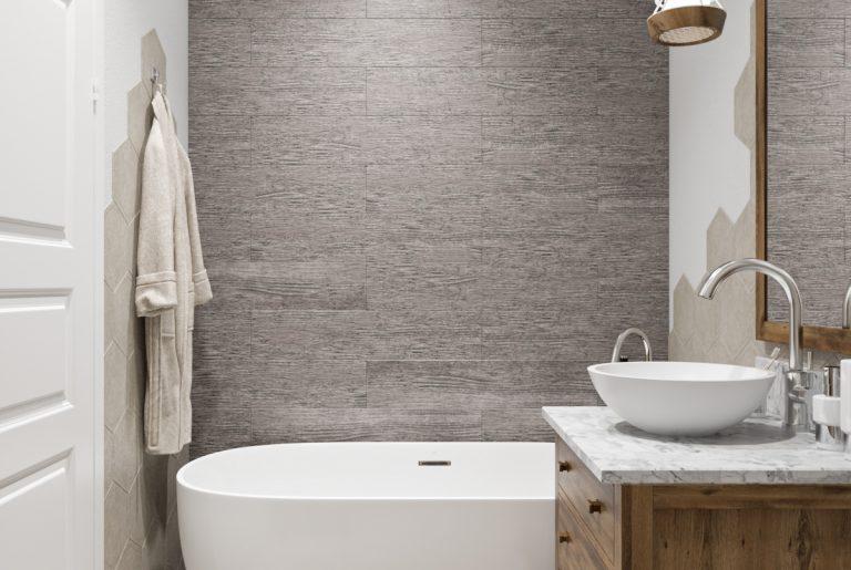 Ванная с контрастными стенами в скандинавском стиле