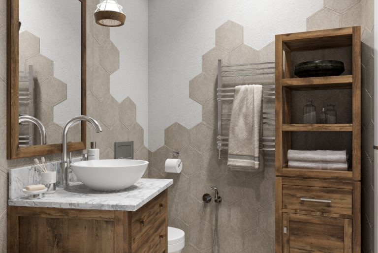Ванная в скандинавском стиле с мебелью из массива