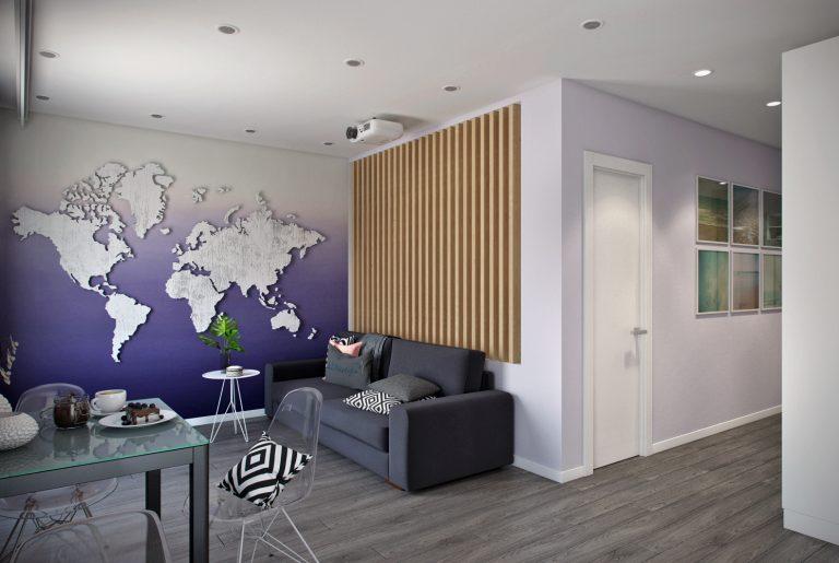 Студия в современном стиле View с картой мира