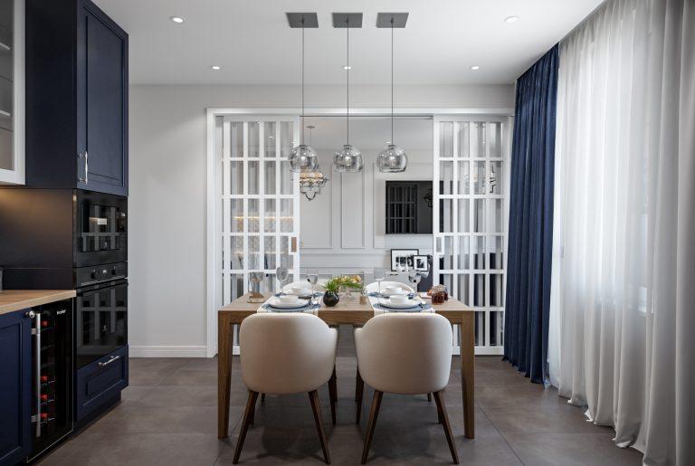 Кухня гостиная в стиле американская классика