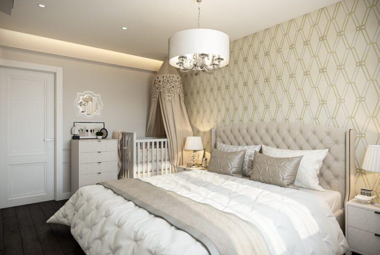 Спальня с детской кроваткой американская классика