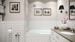 Ванная светлая в стиле американская классика