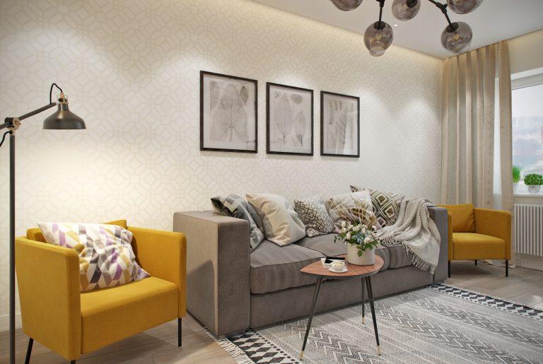 гостиная- living room1 в скандинавском стиле