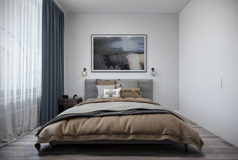 спальня- bedroom1 в стиле лофт
