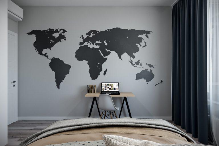 спальня в стиле лофт с рабочим местом и картой мира на стене
