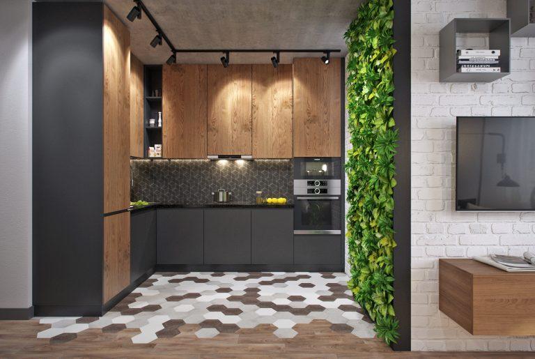 Кухня в студии с фитостеной