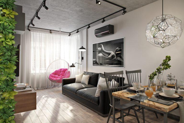 Подвесной кресло в лофт гостиной
