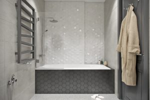 Современная ванная в сдержанных тонах