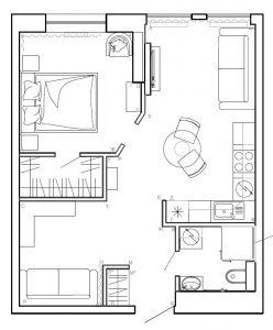 Планировка 1-комнатная квартира
