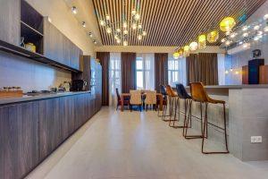 Зона готовки и обеденная зона в гостиной
