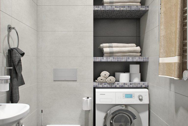 Санузел со стирально-сушильной машиной