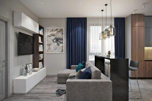 Барная стойка у зоны просмотра ТВ в современной гостиной