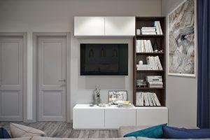 каменная картина в зоне ТВ в современной гостиной