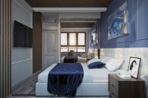 Современная спальня с контрастными стенами- bedroom