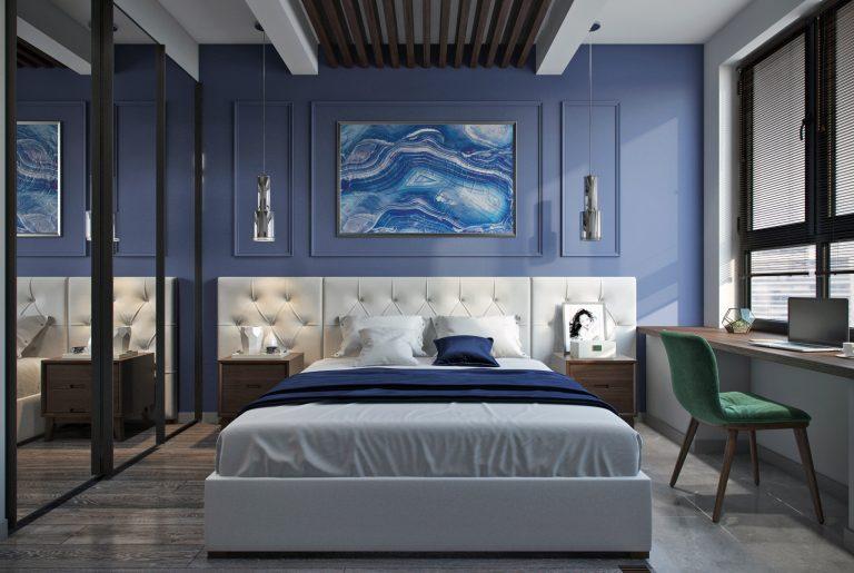 Современная спальня с рабочим местом на подоконнике